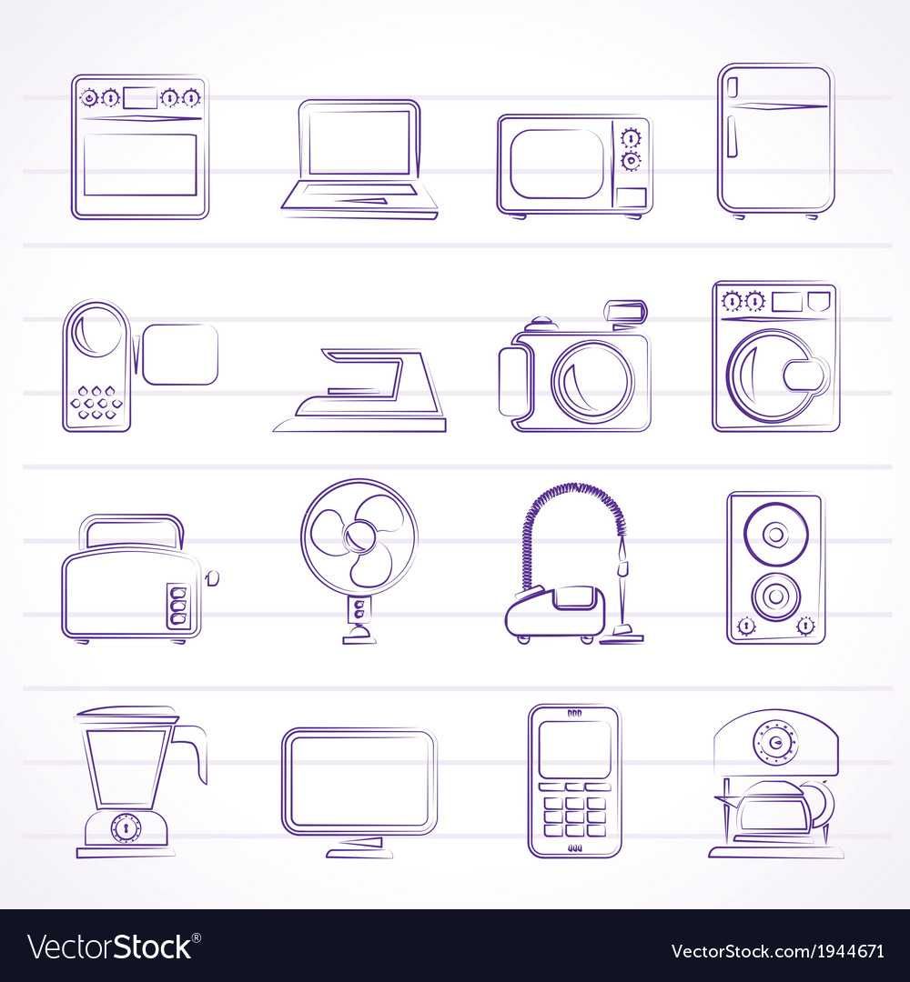 Household appliances and electronics icons vector | Price: 1 Credit (USD $1)