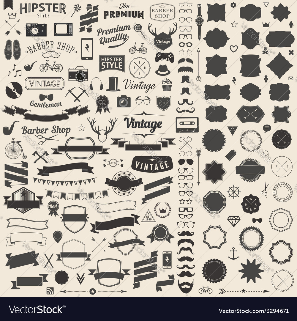 Huge set of vintage styled design hipster icons vector | Price: 3 Credit (USD $3)