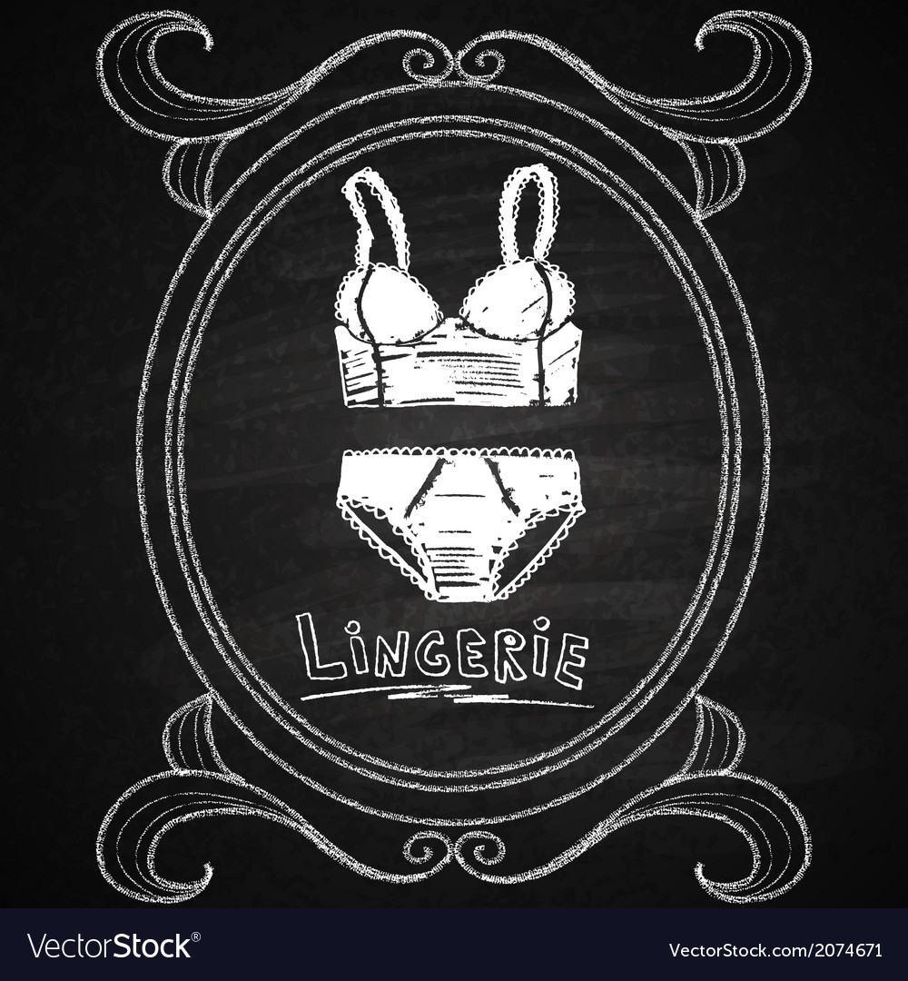 Lingerie set in hand drawn frame chalk on board vector | Price: 1 Credit (USD $1)