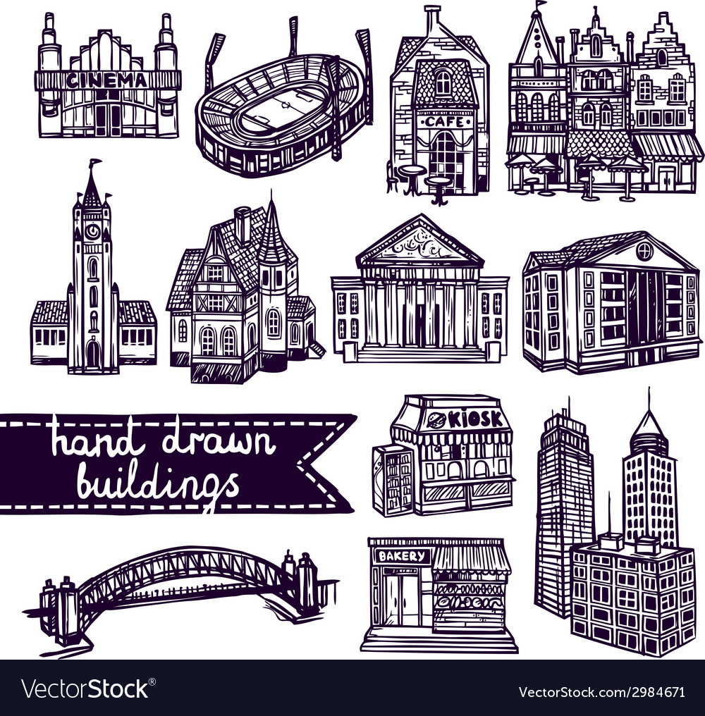 Sketch city building set vector | Price: 1 Credit (USD $1)