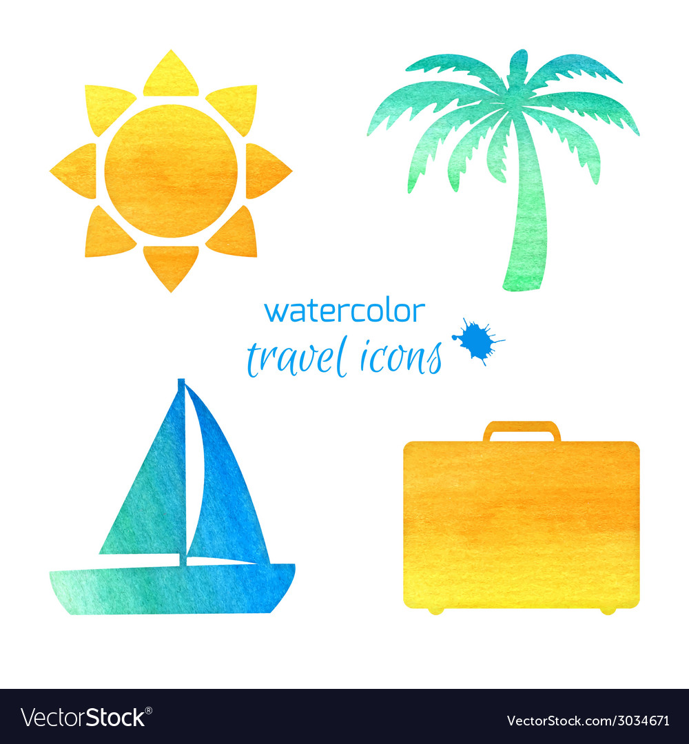 Watercolor travel icons vector | Price: 1 Credit (USD $1)
