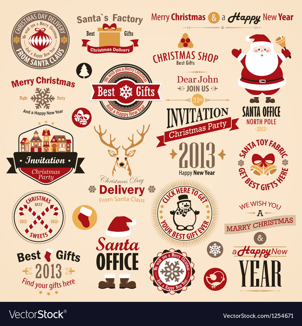 Xmas labels vector | Price: 3 Credit (USD $3)