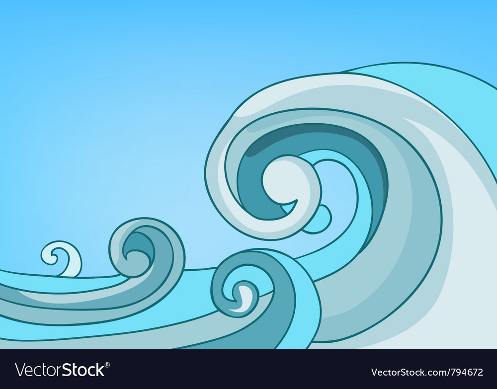Cartoon nature landscape sea vector | Price: 1 Credit (USD $1)