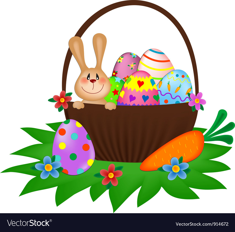 Easter bunny with a painted eggs in the basket vector | Price: 1 Credit (USD $1)