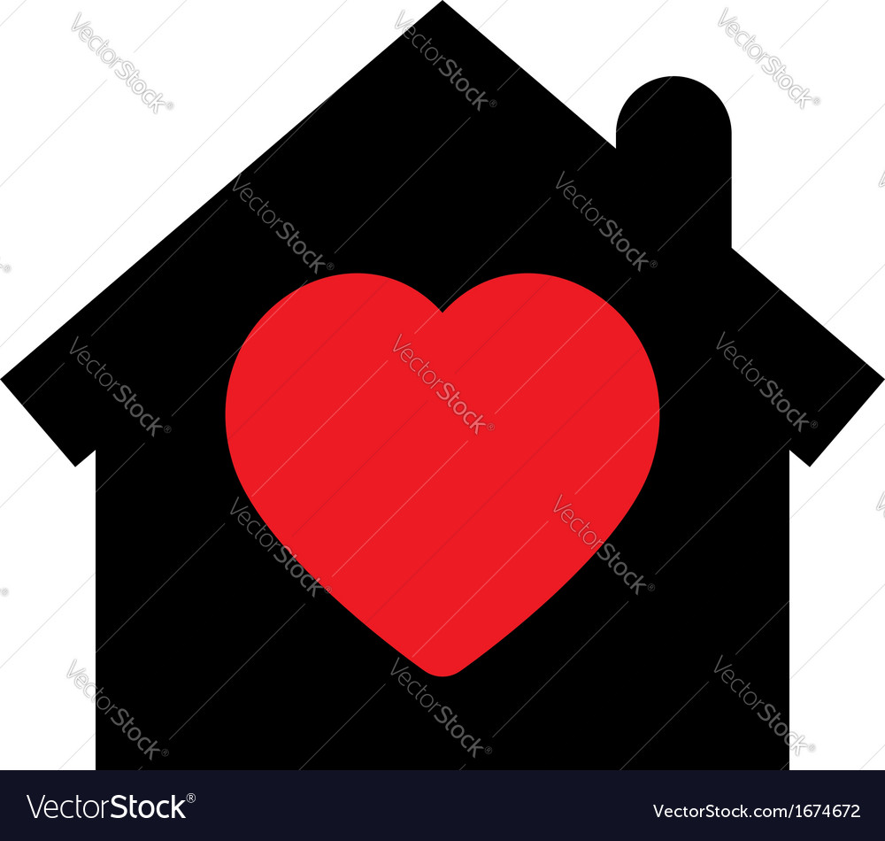 Home icon with heart vector | Price: 1 Credit (USD $1)