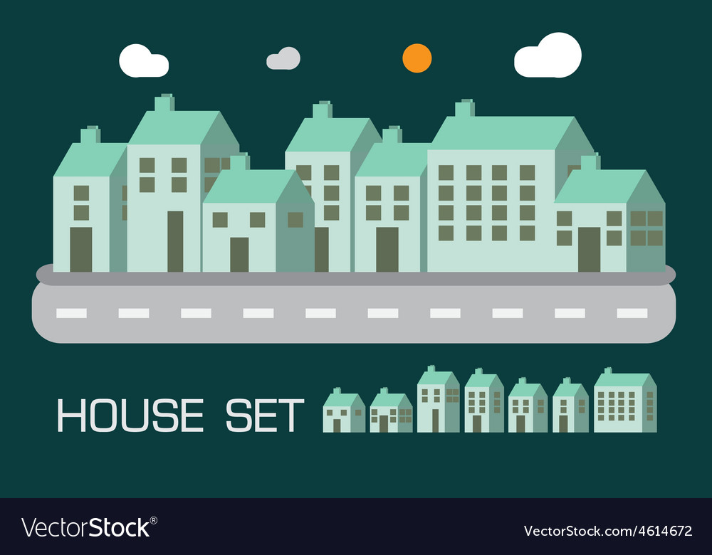 House set green tone concept vector | Price: 1 Credit (USD $1)