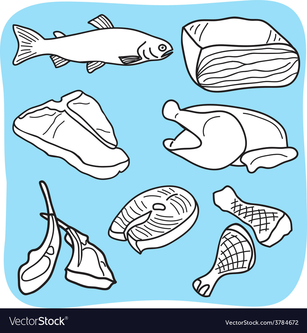 Meat fish and poultry vector | Price: 1 Credit (USD $1)