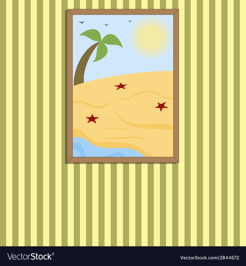Picture in a frame on a wall vector | Price: 1 Credit (USD $1)