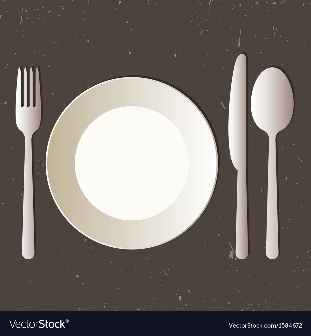 Place setting with plate knife spoon and fork vector | Price: 1 Credit (USD $1)