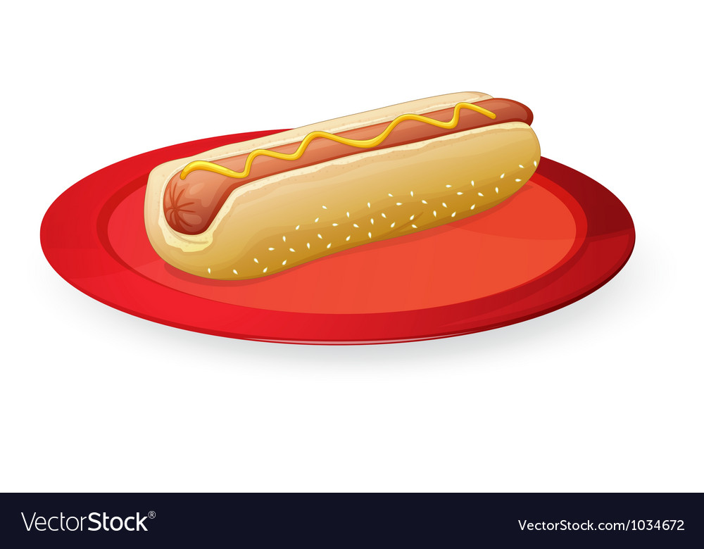 Sausage in bread in plate vector | Price: 1 Credit (USD $1)