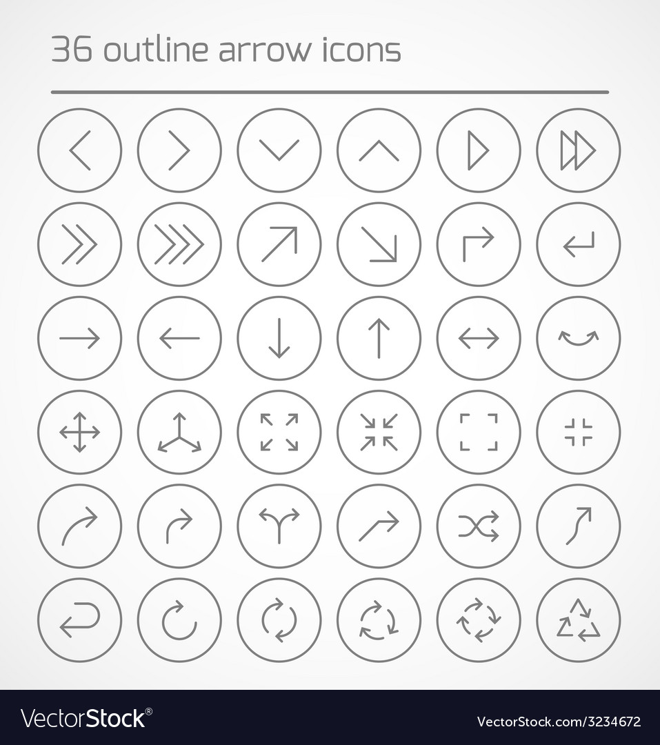 Set of outline arrow icons vector | Price: 1 Credit (USD $1)