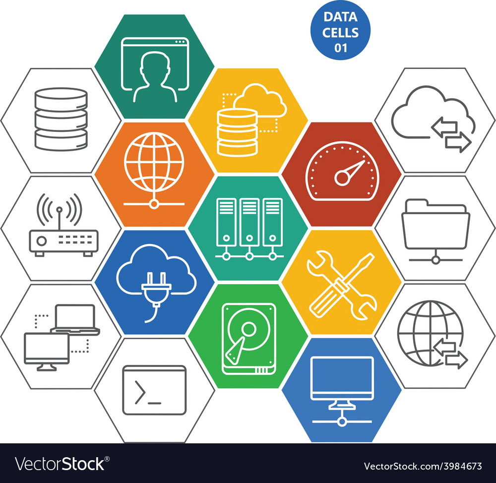 Data cells with icons - computers and network vector