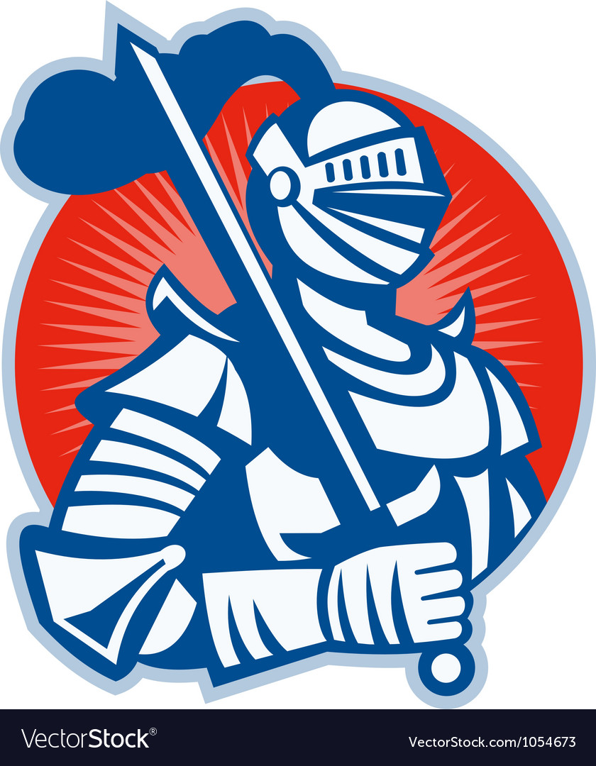Knight full armor with sword retro vector | Price: 1 Credit (USD $1)