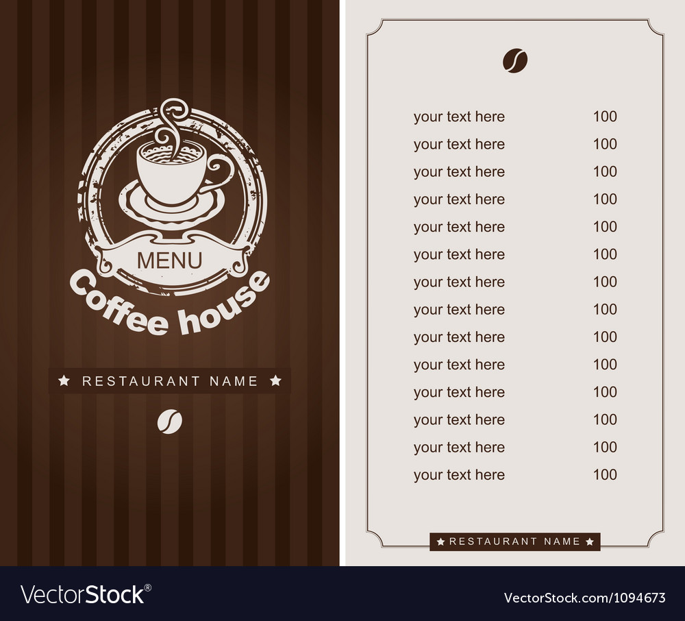 Menu for the cafe vector | Price: 1 Credit (USD $1)
