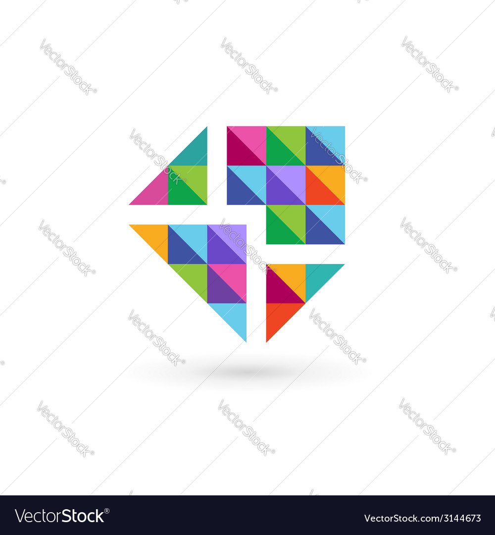 Mosaic e-mail envelope logo icon design template vector | Price: 1 Credit (USD $1)