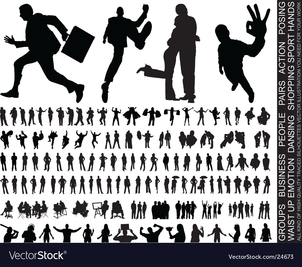 Silhouettes huge collection vector | Price: 3 Credit (USD $3)