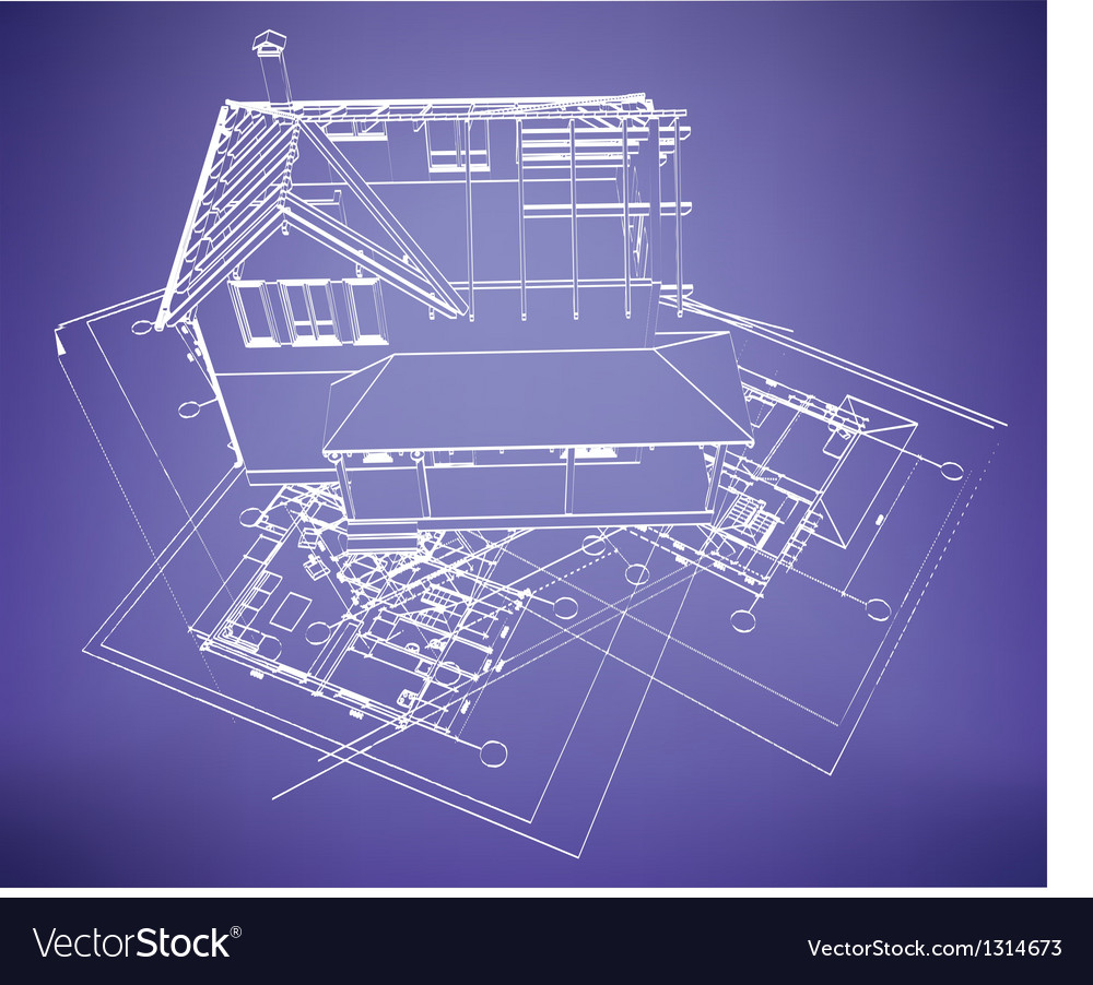 Wireframe building over blueprint vector | Price: 1 Credit (USD $1)