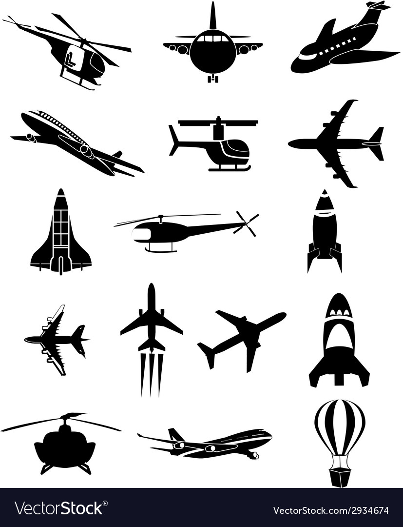 Air travel icons set vector | Price: 1 Credit (USD $1)