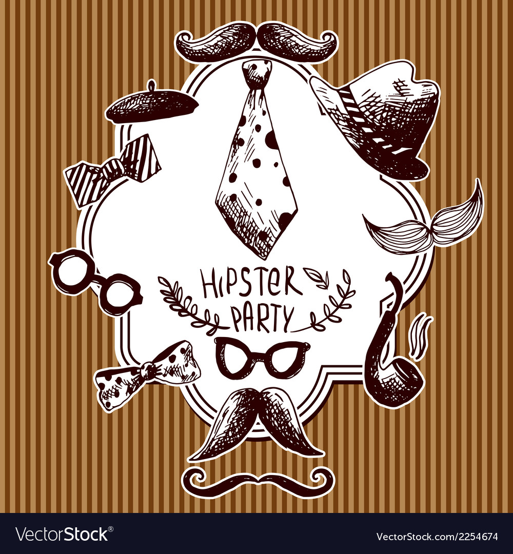 Hand drawn hipster background vector | Price: 1 Credit (USD $1)