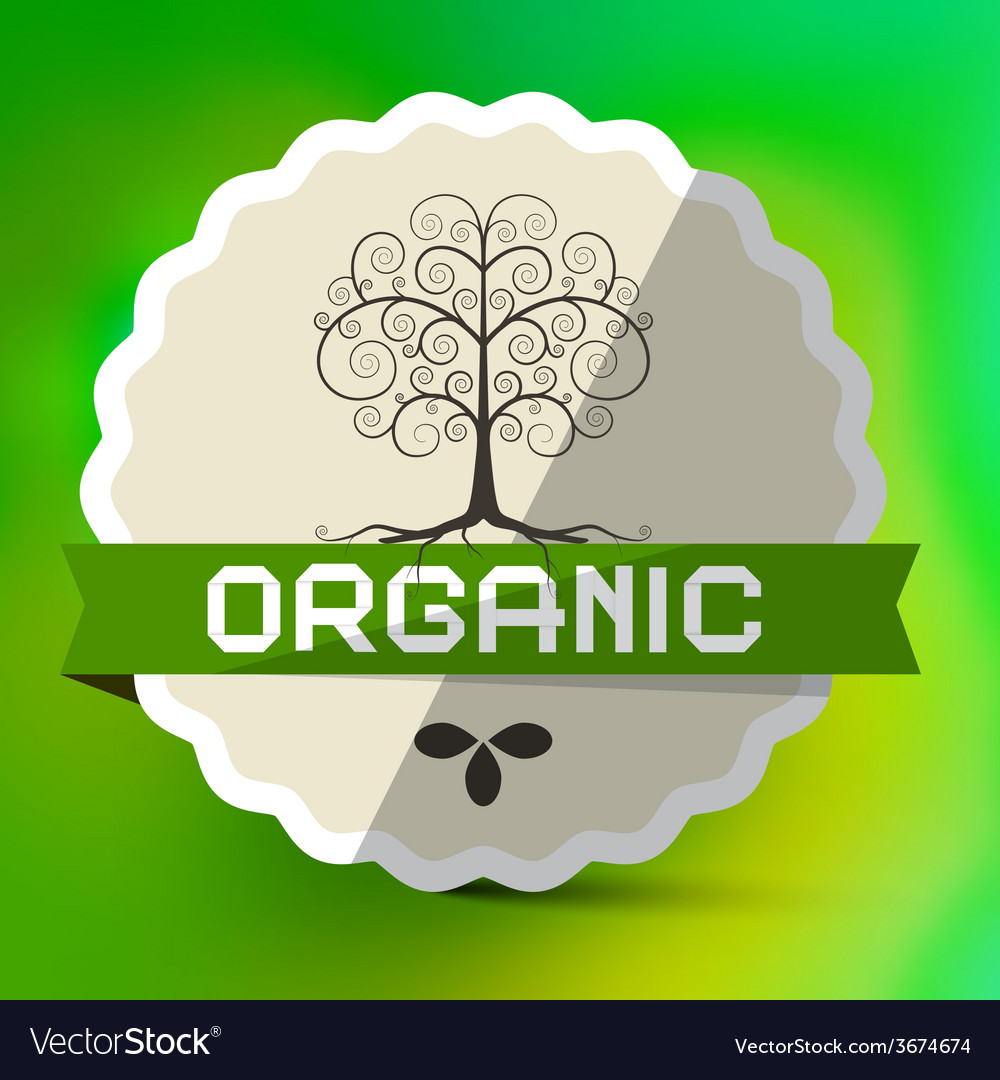Organic label with tree sign on green blurred vector | Price: 1 Credit (USD $1)