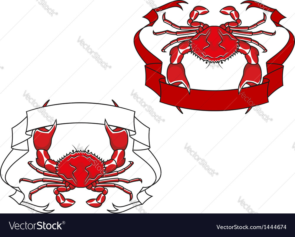 Red crab with ribbon in claws vector | Price: 1 Credit (USD $1)