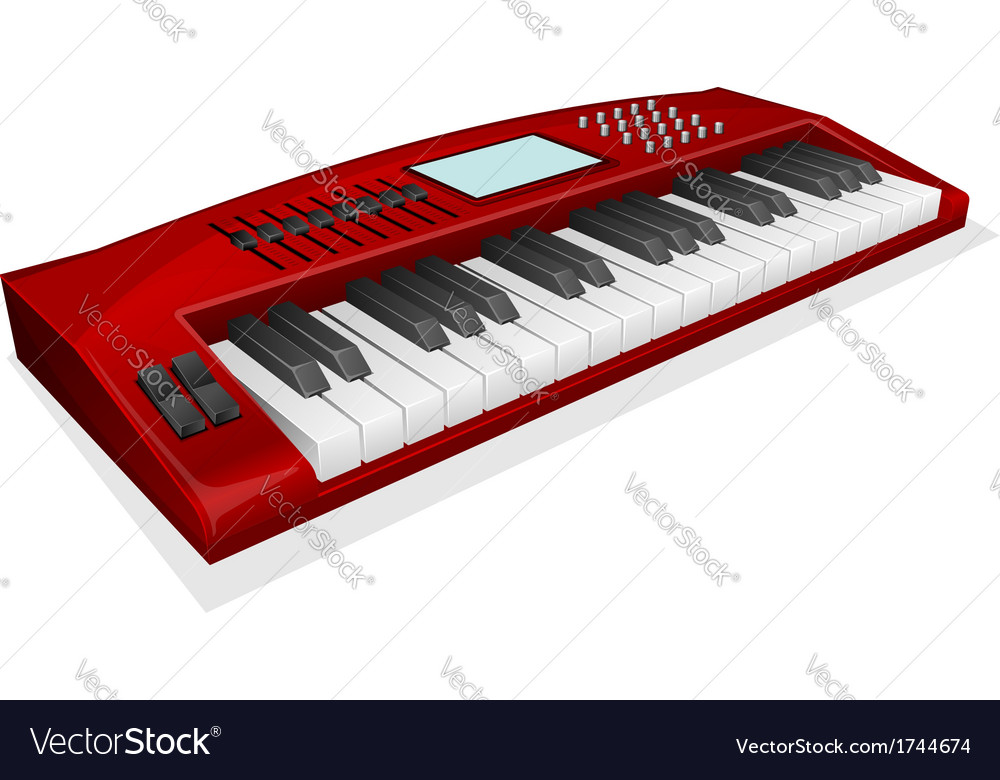 Red synthesizer on white background vector | Price: 1 Credit (USD $1)