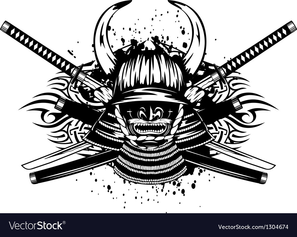 Samurai helmet with horns menpo with yodare kake vector | Price: 1 Credit (USD $1)