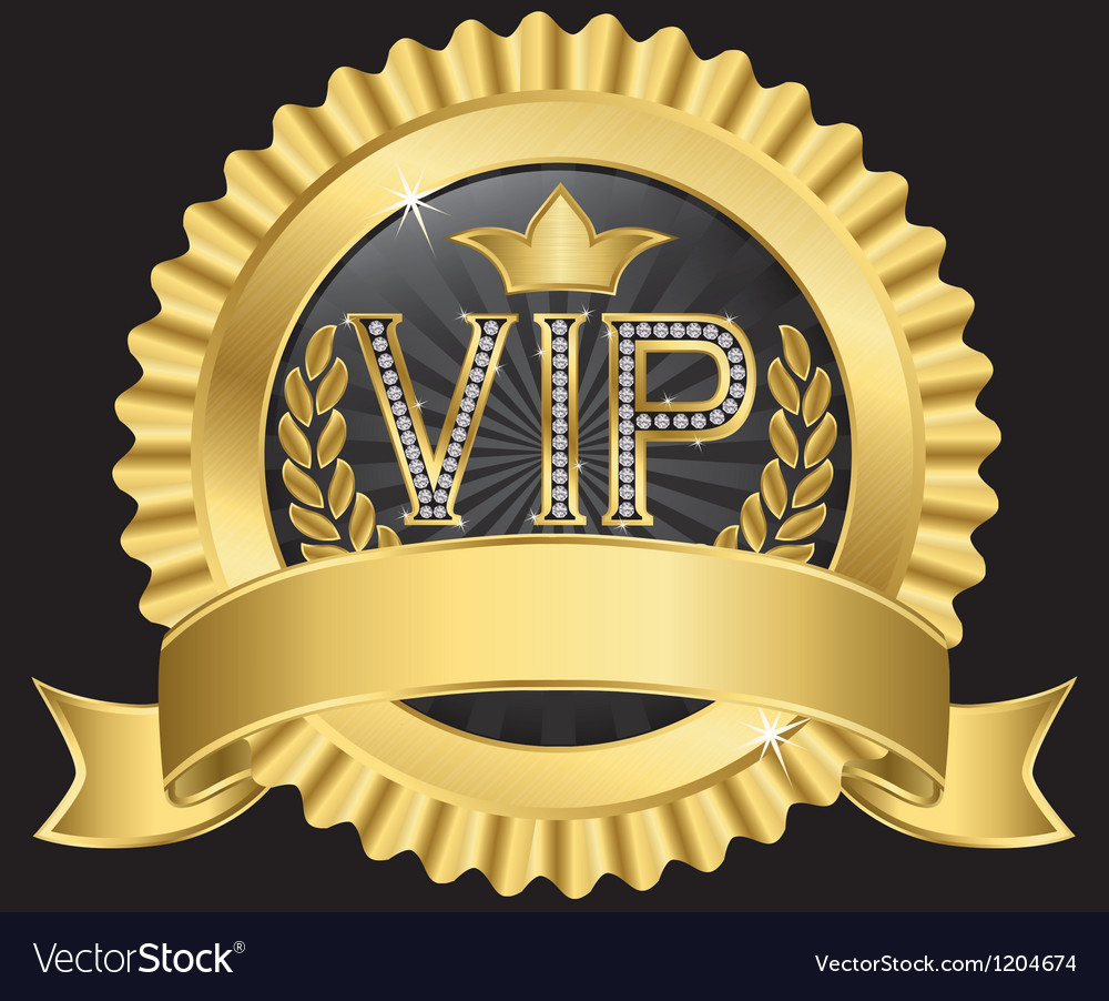 Vip golden label with diamonds and gold ribbon vector | Price: 1 Credit (USD $1)