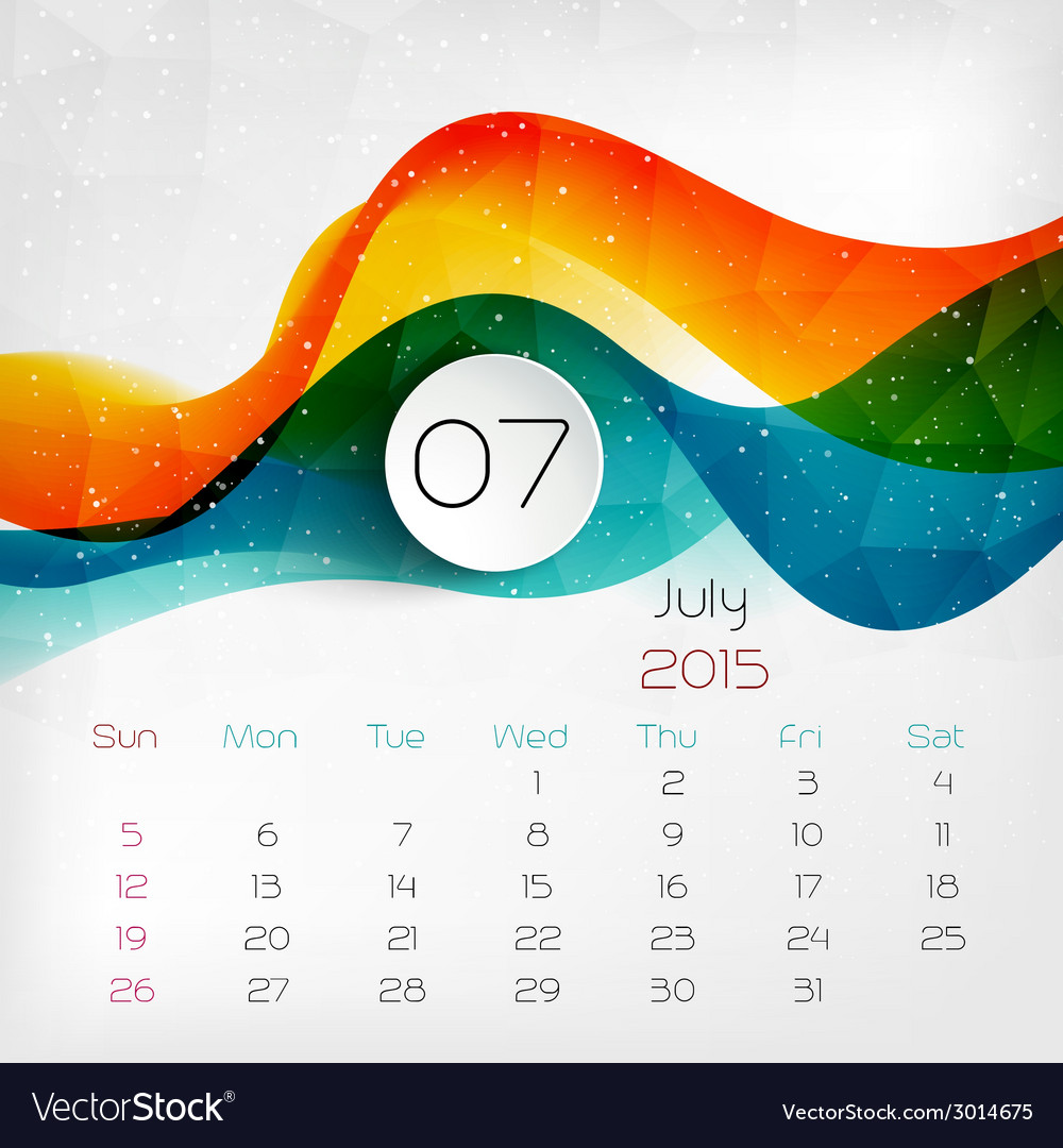 2015 calendar july vector | Price: 1 Credit (USD $1)