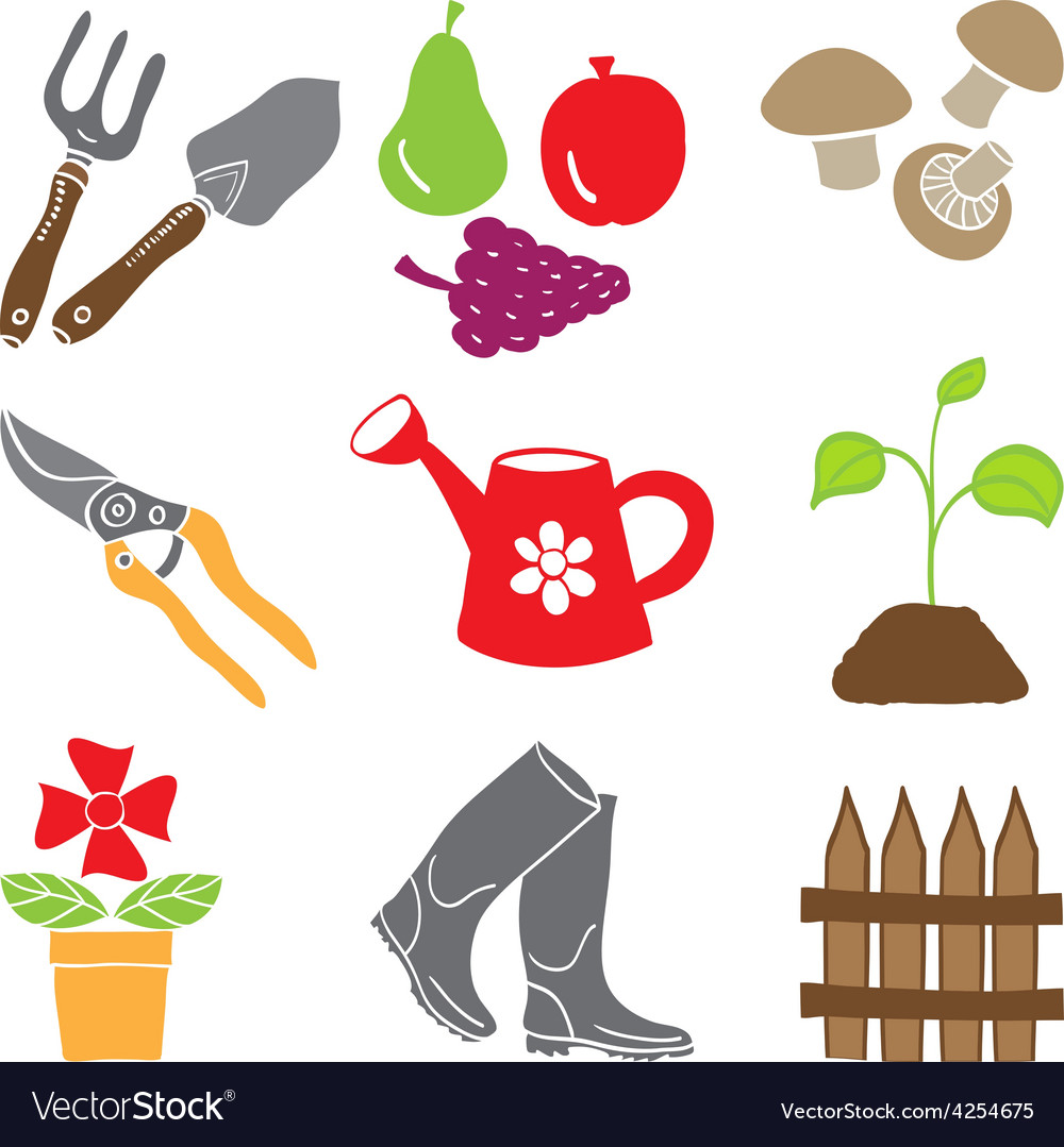 Colored gardening icons - tools and plants vector | Price: 1 Credit (USD $1)