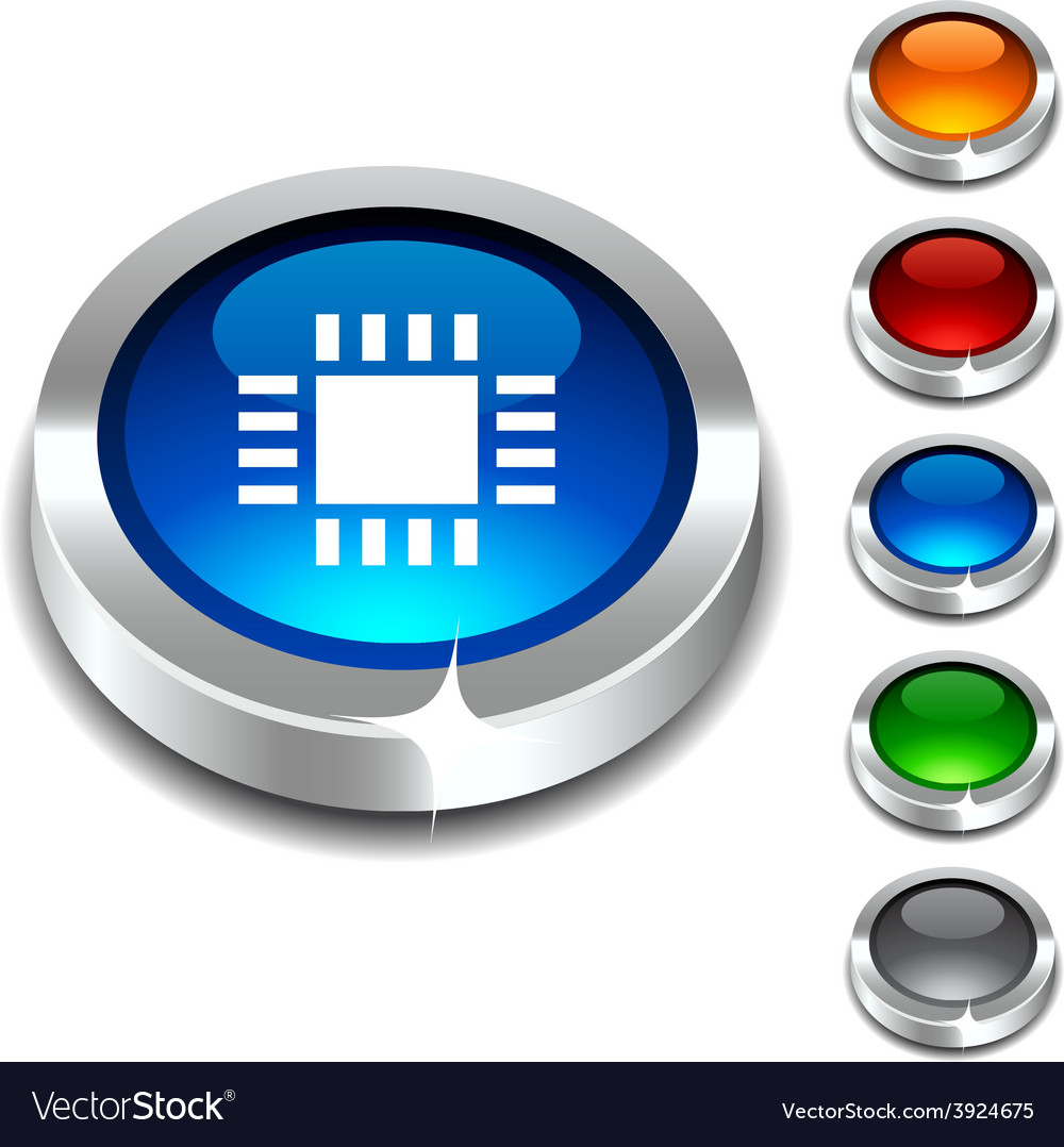 Cpu 3d button vector | Price: 1 Credit (USD $1)