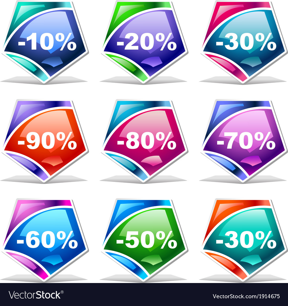 Discount labels vector | Price: 1 Credit (USD $1)