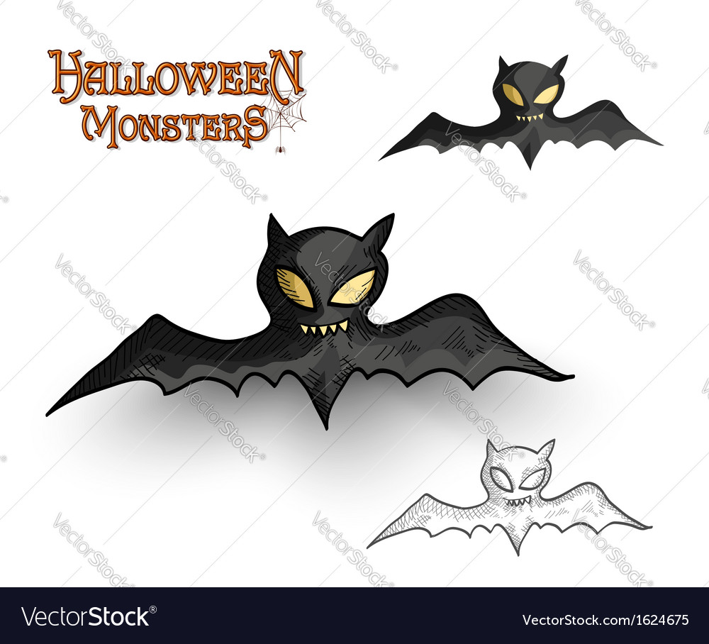 Halloween monsters spooky vampire bat eps10 file vector | Price: 1 Credit (USD $1)