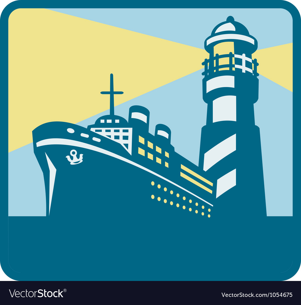 Passenger ship cargo boat lighthouse retro vector | Price: 1 Credit (USD $1)