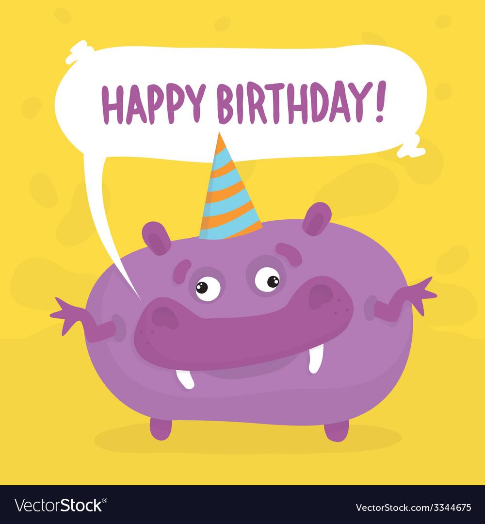 Purple birthday monster vector | Price: 1 Credit (USD $1)