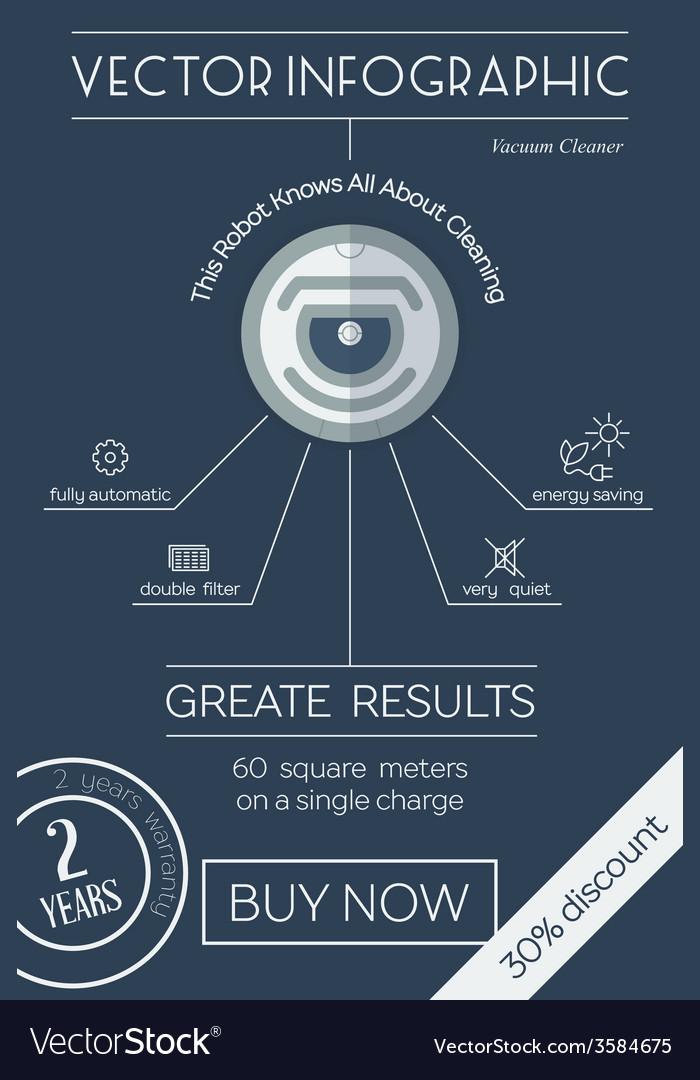 Robot vacuum cleaner flat infographic vector | Price: 1 Credit (USD $1)