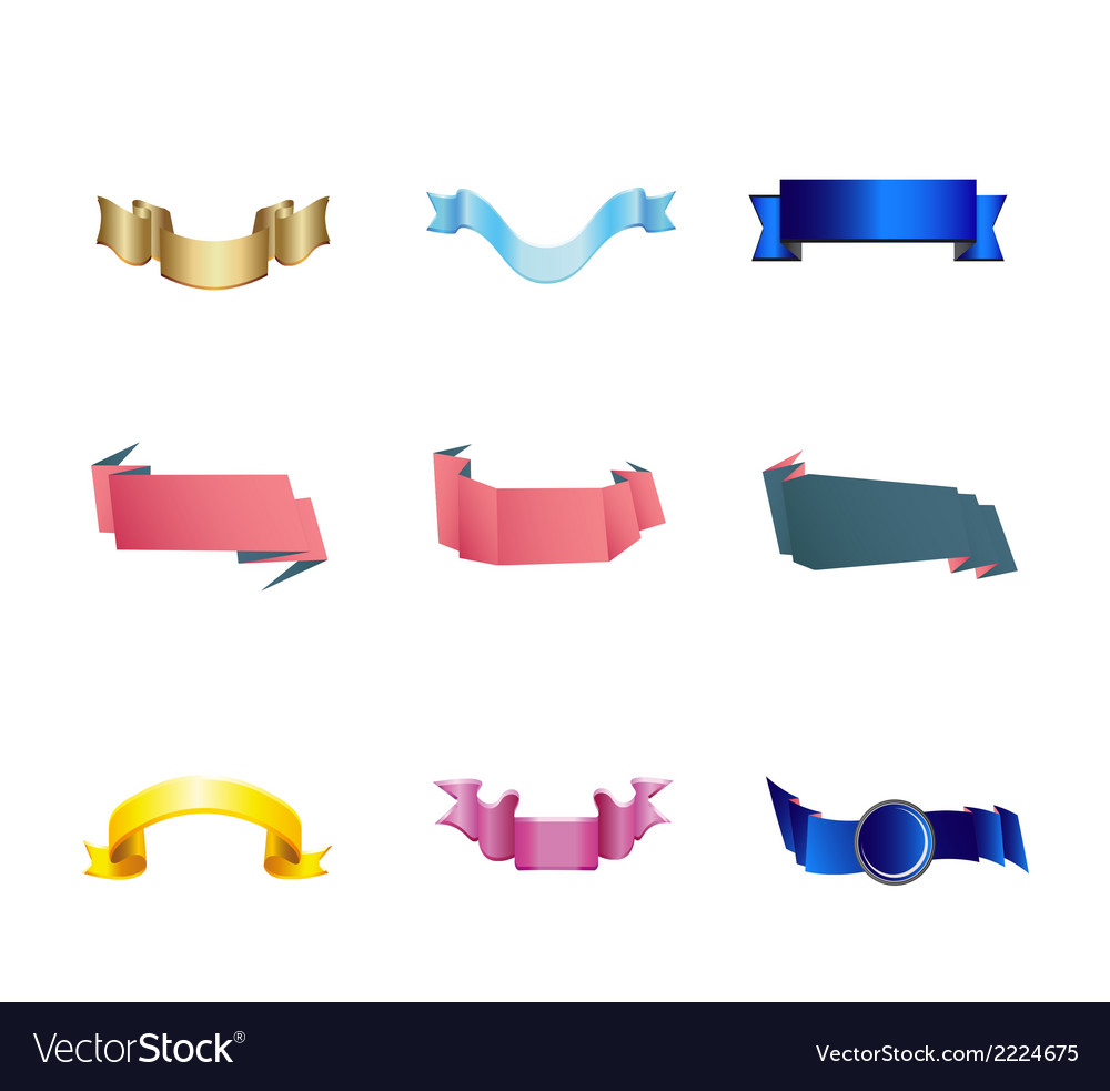 Set of 4 ribbon premium ribbon vector | Price: 1 Credit (USD $1)