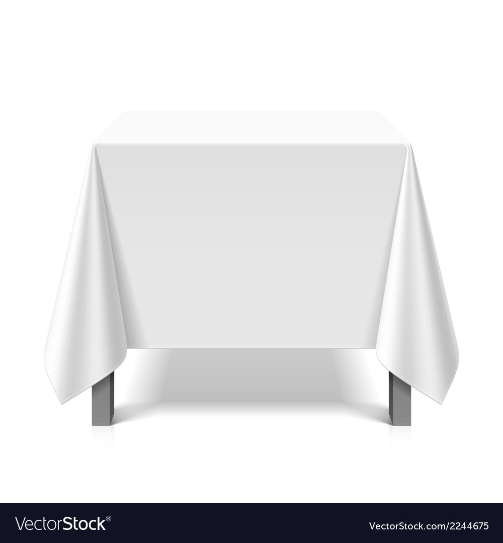 Square table covered with white tablecloth vector | Price: 1 Credit (USD $1)