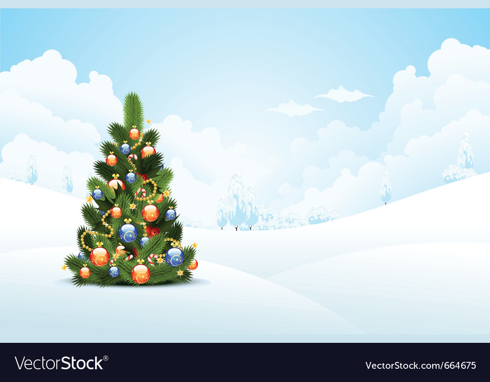 Winter background with fir-tree vector | Price: 3 Credit (USD $3)