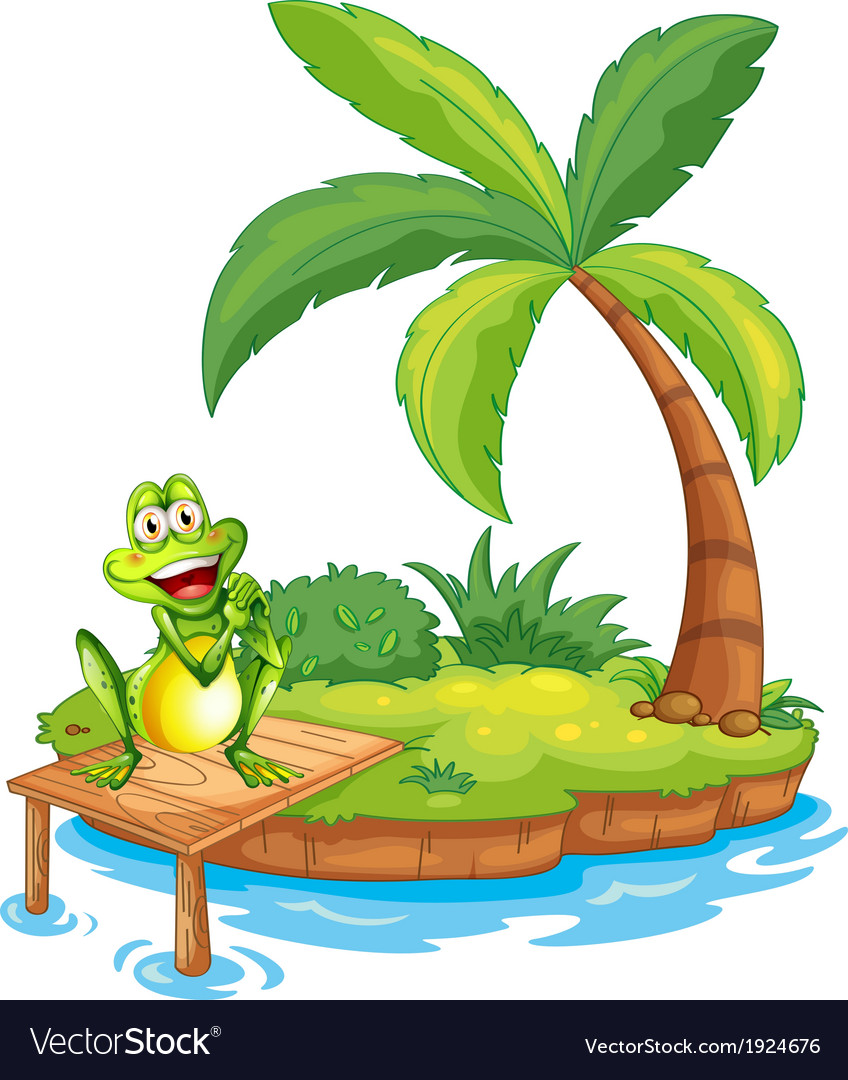An island with a frog above the wooden bridge vector | Price: 3 Credit (USD $3)
