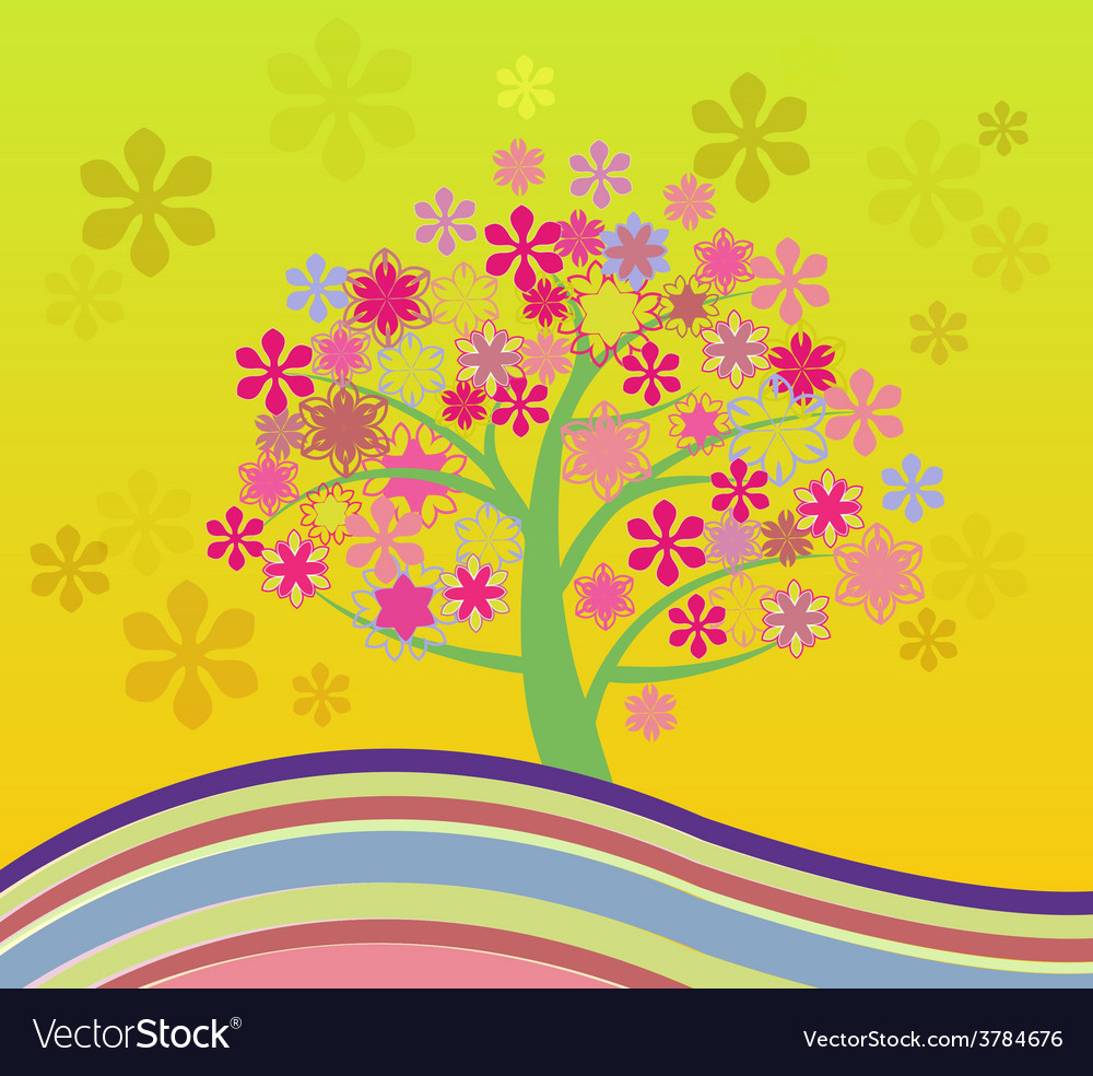 Blossom cherry tree vector | Price: 1 Credit (USD $1)