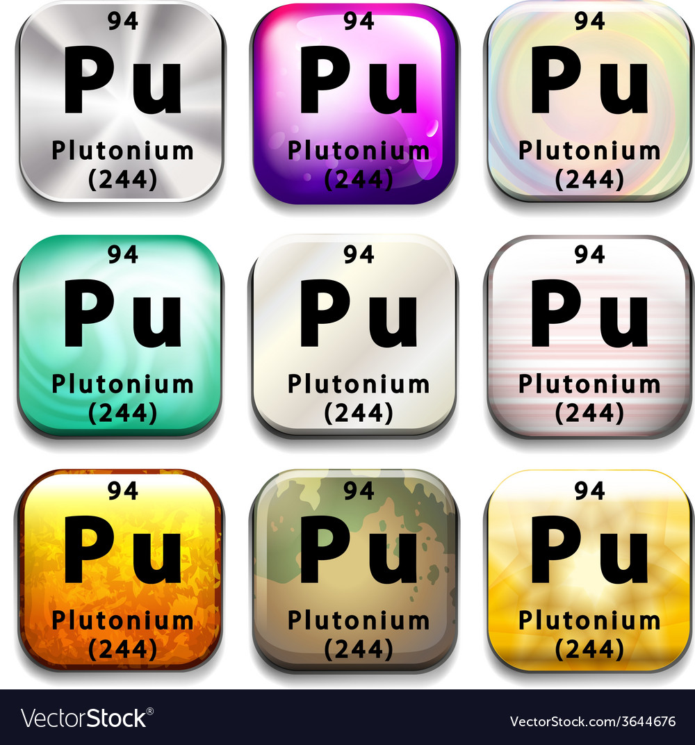 Buttons showing plutonium and its abbreviation vector | Price: 1 Credit (USD $1)
