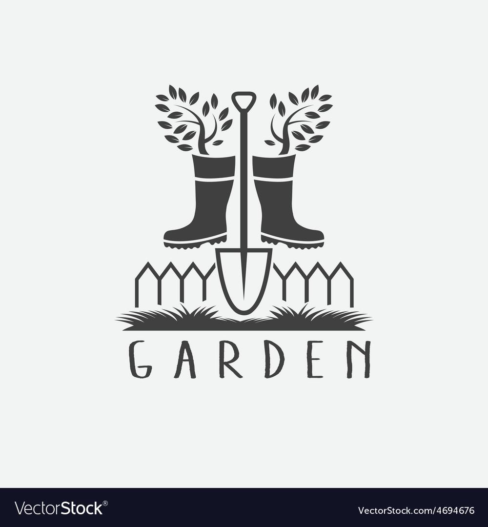 Gardening concept with gumbootstree and shovel vector | Price: 1 Credit (USD $1)