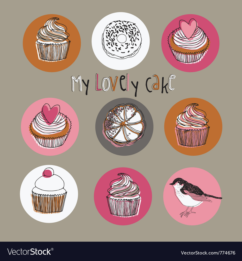Lovely cakes vector | Price: 1 Credit (USD $1)