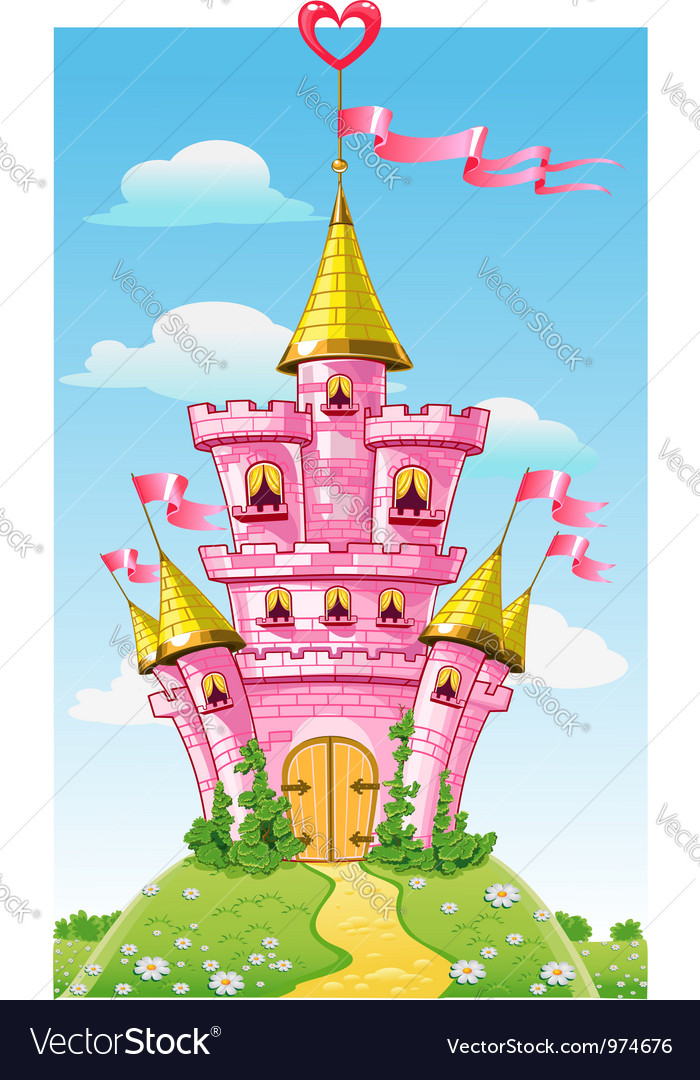 Magical fairytale pink castle with flags vector | Price: 3 Credit (USD $3)