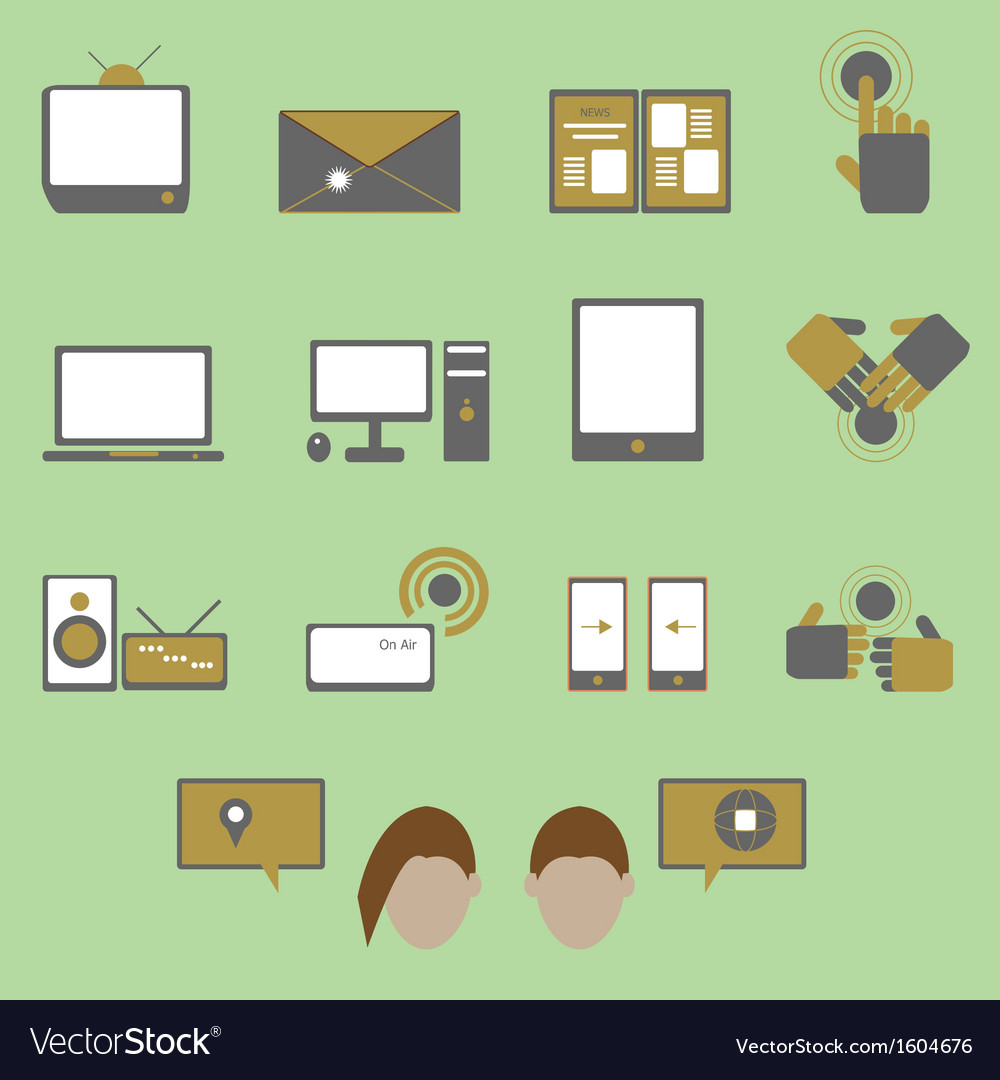 Media and communication color icons on green vector | Price: 1 Credit (USD $1)