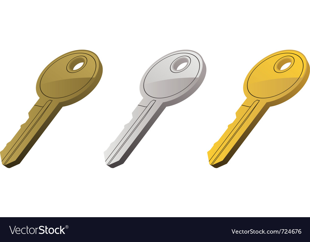 Metal keys set one vector | Price: 1 Credit (USD $1)