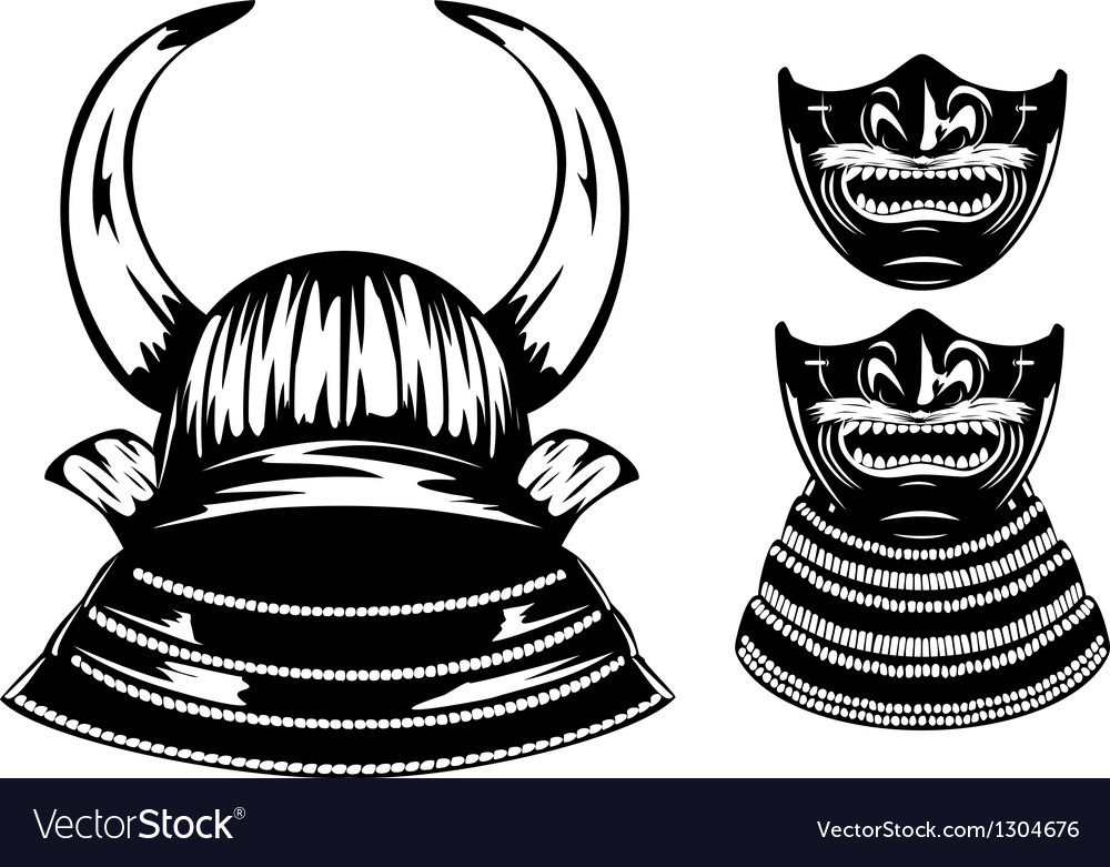 Samurai helmet with horns and mempo vector | Price: 1 Credit (USD $1)