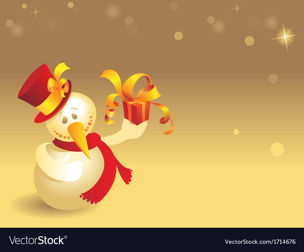 Snowman with gift vector   Price: 1 Credit (USD $1)