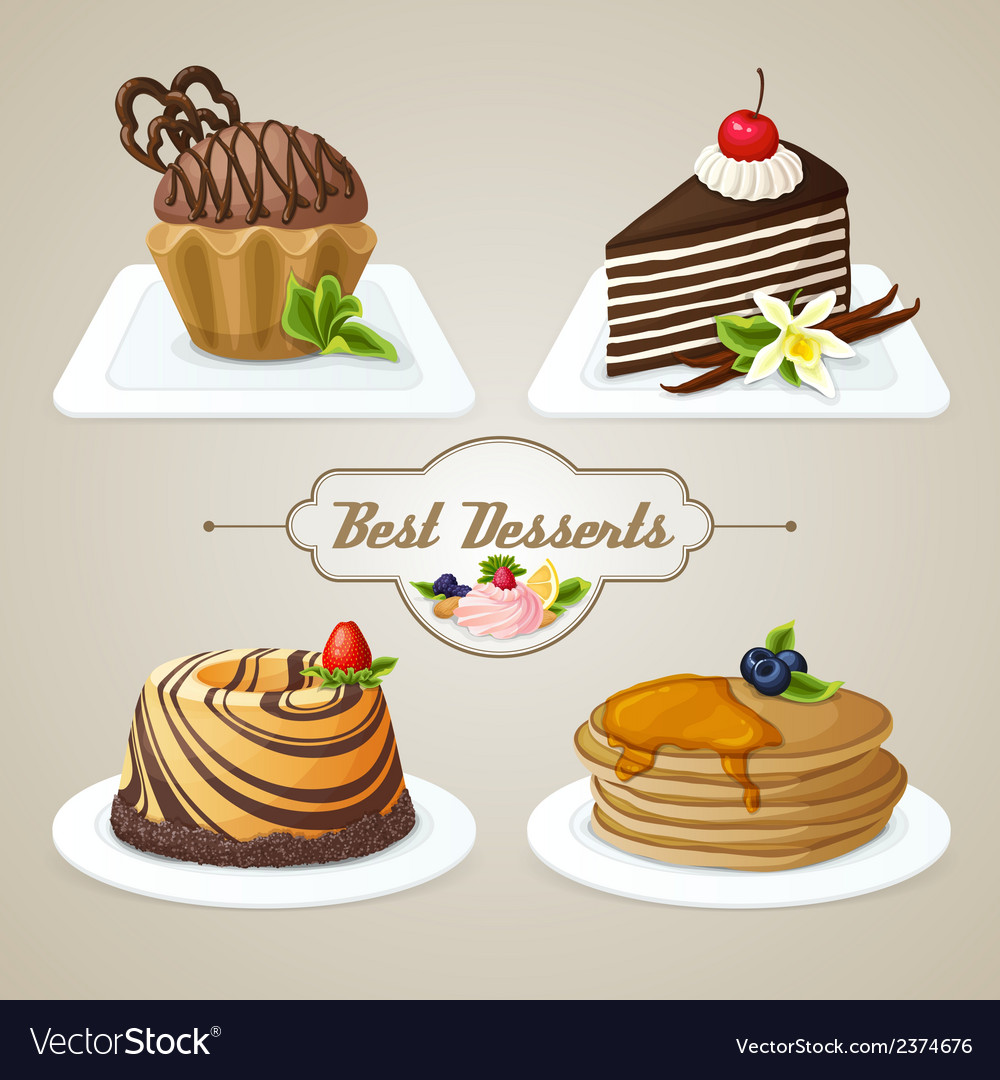 Sweets dessert set vector | Price: 1 Credit (USD $1)
